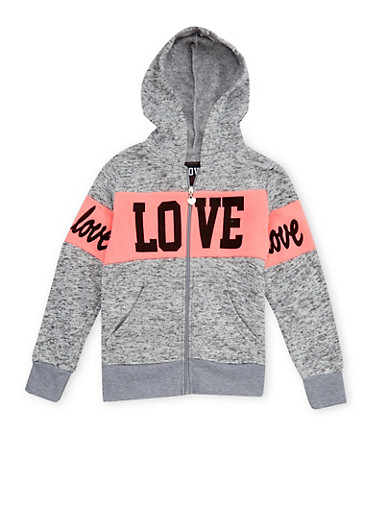 Girls 7-16 Love Graphic Marled Hoodie,LT GREY,large