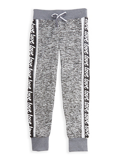 Girls 7-16 Marled Joggers with Faux Drawstring Waist,LT GREY,large