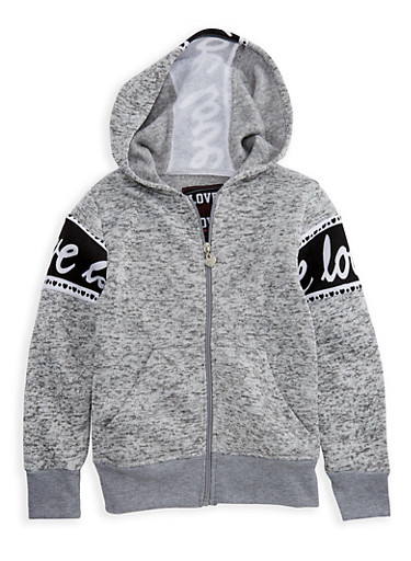 Girls 7-16 Marled Love Graphic Zip Front Hoodie,LT GREY,large