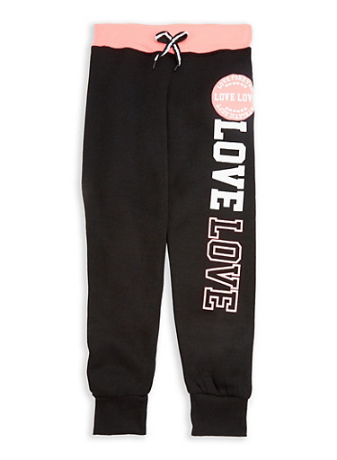 Girls 7-16 Love Graphic Joggers with Contrast Waistband,BLACK,large