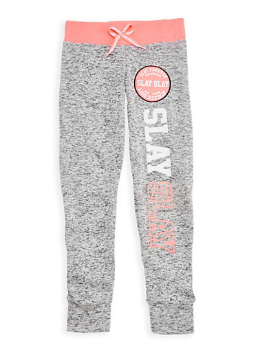 Girls 7-16 Slay Forever Graphic Joggers,LT GREY,large