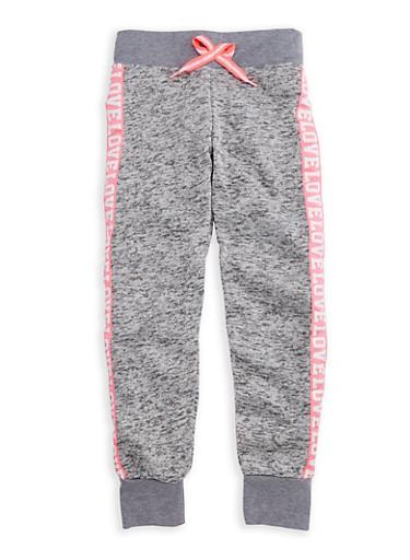 Girls 7-16 Love Graphic Fleece Knit Joggers,LT GREY,large