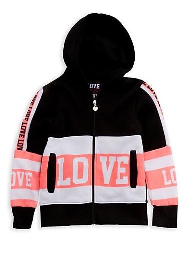 Girls 7-16 Long Sleeve Hooded Love Zip Up Sweatshirt,BLACK,large