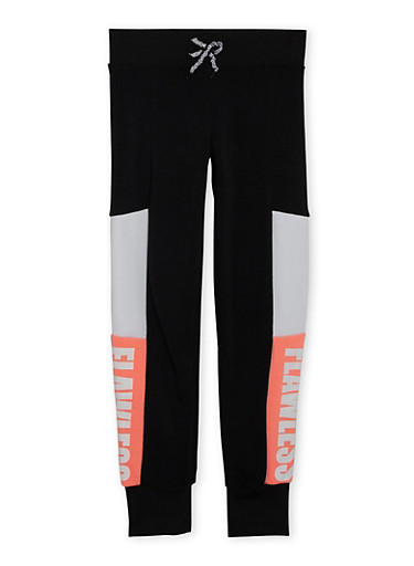 Girls 7-14 Color Block Joggers with Flawless Graphic,BLACK,large