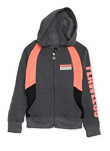 Girls 7-16 Color Block Hoodie with Flawless Graphic,CHARCOAL,large