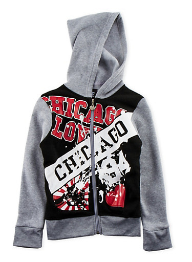 Girls 7-16 Hoodie with Chicago Love Graphic,HEATHER,large