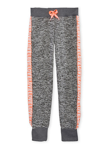 Girls 7-16 Marled Knit Joggers with Love Trim,DARK GREY,large