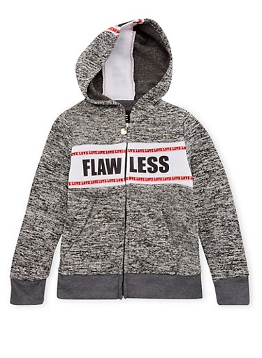 Girls 10-16 Zip Front Hoodie with Flawless and Love Graphic,DARK GREY,large
