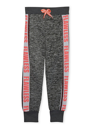 Girls 10-16 Marled Joggers with Flawless Love Graphics,DARK GREY,large