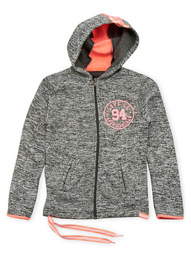 Girls 7-16 Marled Knit Hoodie with Love Graphic,DARK GREY,large