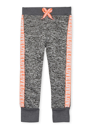 Girls 7-16 Joggers with Love Graphic,DARK GREY,large