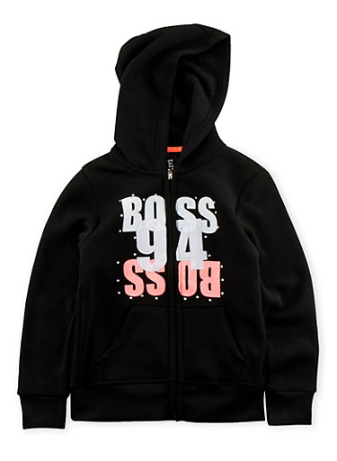 Girls 7-16 Zip Front Hoodie with Boss 94 Graphic,BLACK,large
