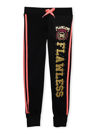 Girls 7-16 Knit Joggers with Flawless Embroidery,BLACK,large