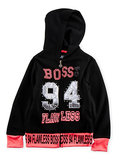 Girls 7-16 Hoodie with Boss 94 Flawless Graphic,BLACK,large