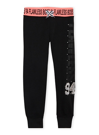 Girls 7-16 Studded Graphic Joggers with Flawless Boss 94 Print,BLACK,large