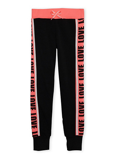 Girls 6X-16 Love Print Joggers,BLACK,large