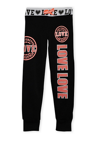 Girls 7-16 Patchwork Joggers with Love Forever Athletic Dept Print,BLACK,large