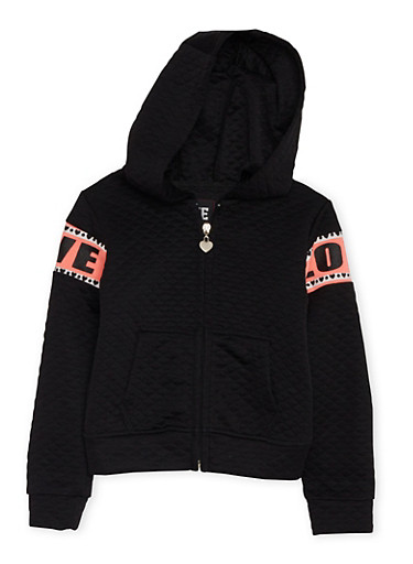 Girls 7-16 Quilted Hoodie with Love Graphics,BLACK,large