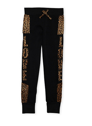 Girls 7-16 Joggers with Love Leopard Print,BLACK,large