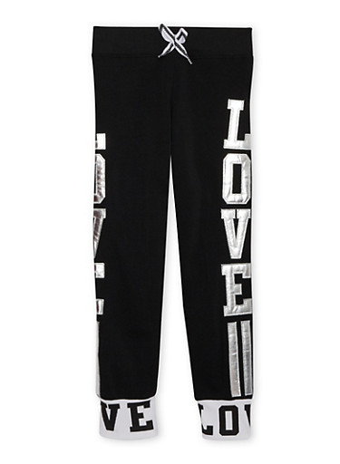 Girls 7-16 Joggers with Metallic Love Appliques,BLACK,large