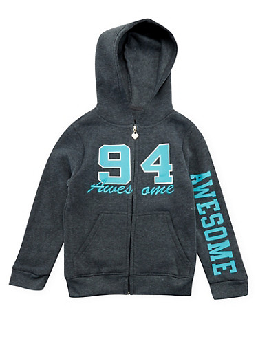 Girls 7-16 Awesome 94 Graphic Hoodie,CHARCOAL,large