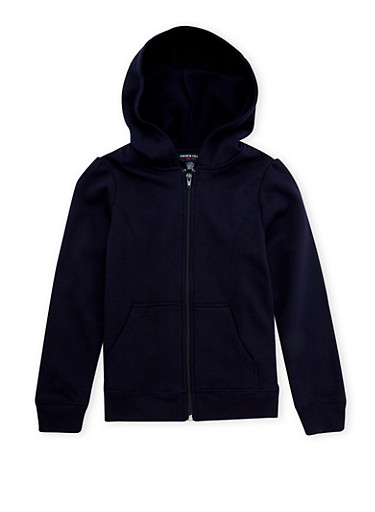 Girls 7-16 French Toast Zip-Front Hoodie,NAVY,large