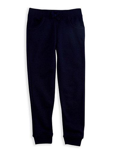 Girls 7-14 Navy Fleece Jogger Pants,NAVY,large