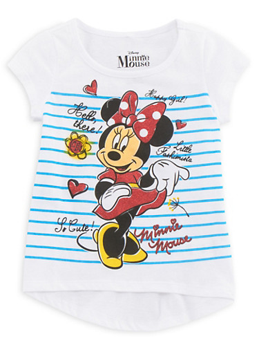 Girls 4-6x Striped Tee with Minnie Mouse Graphic,WHITE,large