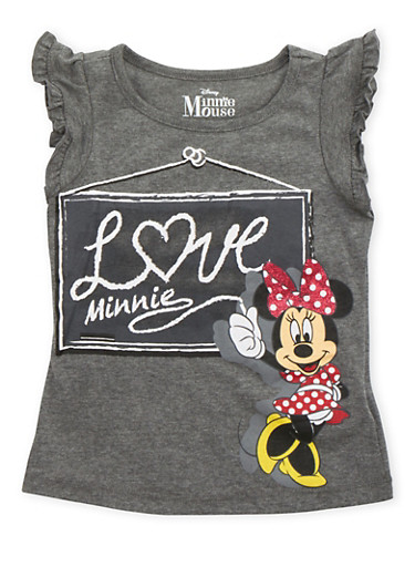 Girls 4-6x Ruffled Tee with Minnie Mouse Graphic,DARK GREY,large