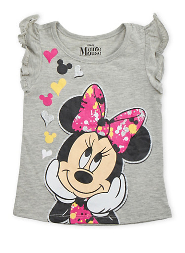 Girls 4-6x Ruffled Tee with Minnie Mouse Graphic,GREY,large