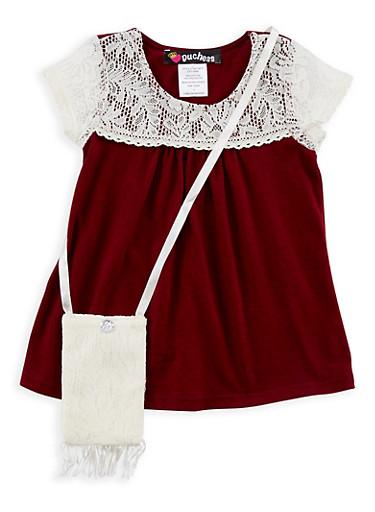 Girls 4-6x Crochet Yoke T Shirt with Purse,BURGUNDY,large