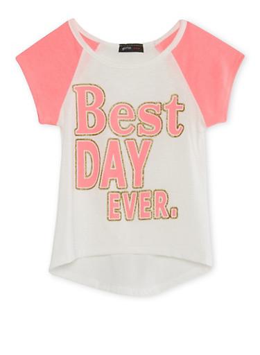 Girls 4-6x Raglan T-Shirt with Glitter Best Day Ever Graphic,IVY/NPNK,large