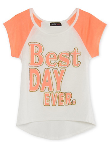 Girls 4-6x Raglan T-Shirt with Glitter Best Day Ever Graphic,IVY/NCORL,large