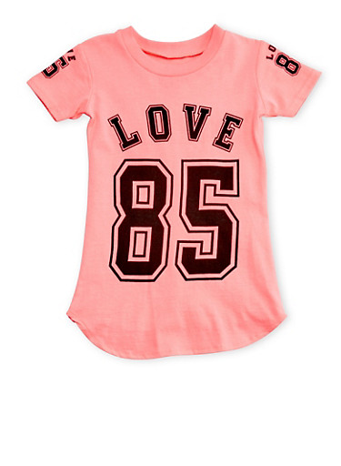 Girls 4-6x Varsity Love T-Shirt,NEON PINK,large
