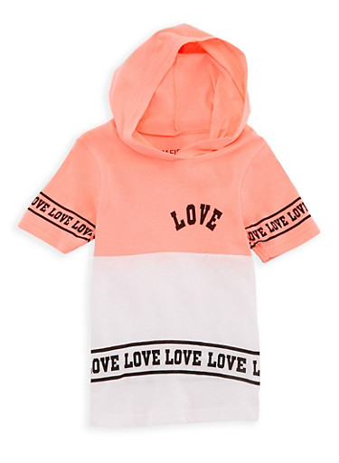 Girls 4-6x Love Hooded T Shirt,NEON PINK,large