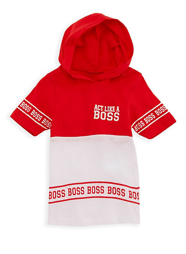 Girls 4-6x Boss Graphic Hooded T Shirt,RED,large