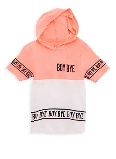 Girls 4-6X Boy Bye Graphic Hooded T Shirt,NEON PINK,large