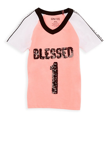 Girls 4-6X Blessed Sequin Graphic T Shirt,NEON PINK,large