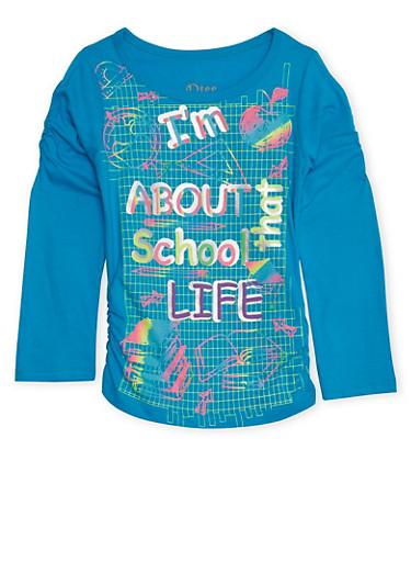 Girls 4-6x Aqua Graphic Top with About That School Life Print,AQUA,large