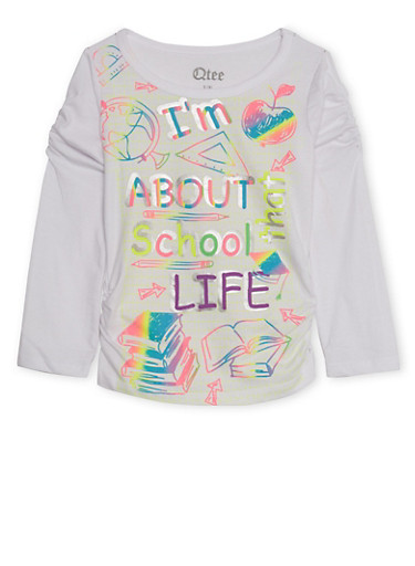 Girls 4-6x Long Sleeve Top with School Life Graphic,WHITE,large