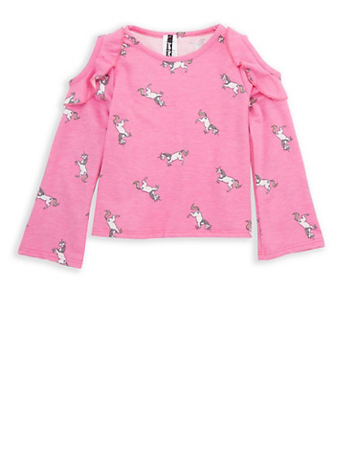 Girls 4-6x Cold Shoulder Printed Unicorn Top with Ruffle Detail,FUCHSIA,large