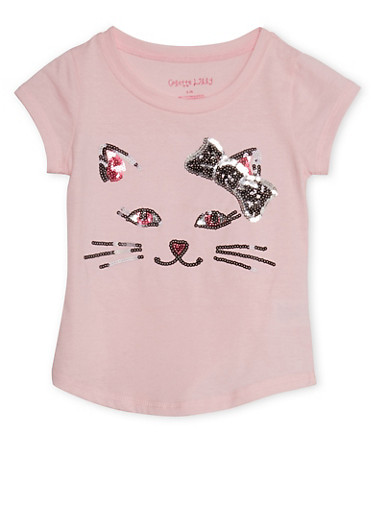 Girls 4-6x T-Shirt with Sequin Cat Design,ROSE,large