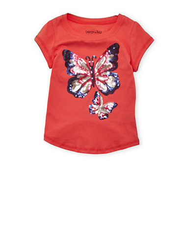 Girls 4-6x Tee with Sequined Butterfly Graphic,CORAL,large