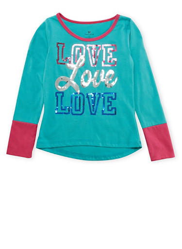 Girls 4-6x Long Sleeve Sequin Graphic Top,JADE,large