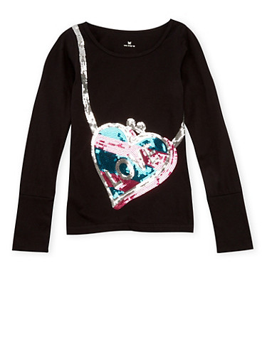 Girls 4-6x Long Sleeve Top with Love Heart Purse Sequins,BLACK,large