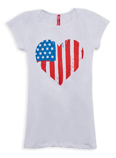 Girls 4-6x Flag Heart Graphic T Shirt,WHITE,large