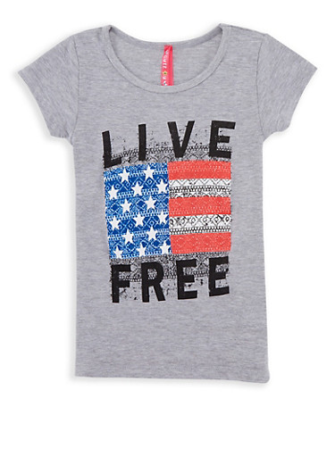 Girls 4-6x Live Free Graphic T Shirt,HEATHER,large