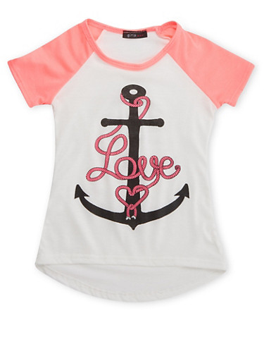 Girls 4-6x Raglan T-Shirt with Anchor Graphic,IVY/NPNK,large