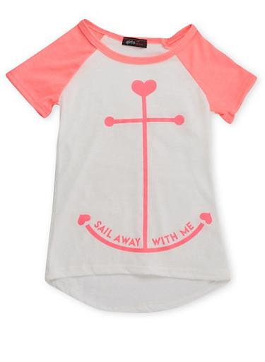 Girls 4-6x Raglan T-Shirt with Anchor Graphic,IVY/NPNK,large