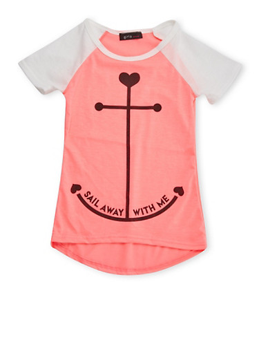 Girls 4-6x Raglan T-Shirt with Anchor Graphic,NPNK/IVY,large